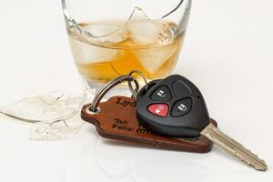 Alcohol and keys of drunk driver