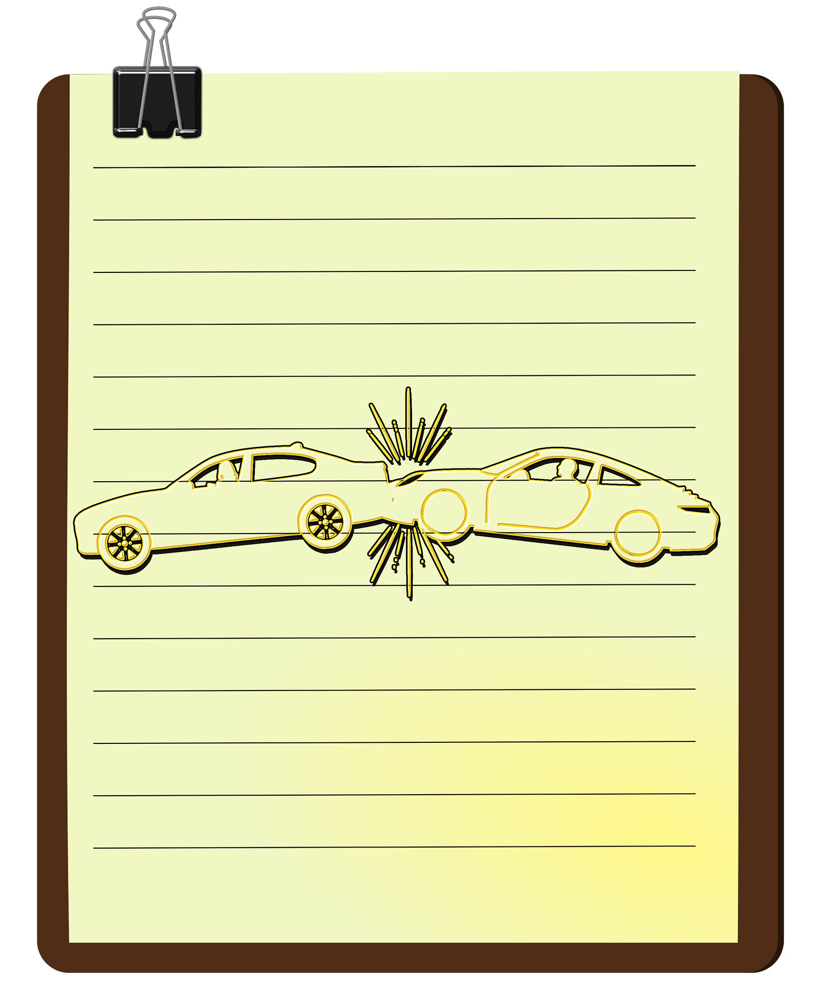 drawing of parking lot car accident for Houston car crash attorney